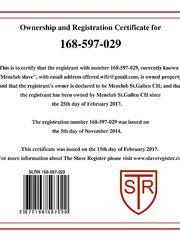 Certificato di schiava