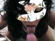 Gran bel bocchino Milf italiana mascherata